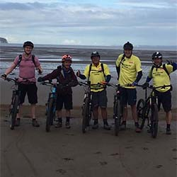 Cyclists at Weston SuperMare for start of cycle